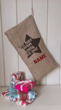 Personalized Star Father Christmas Xmas Santa Sack / Stocking Bag Jute Hessian